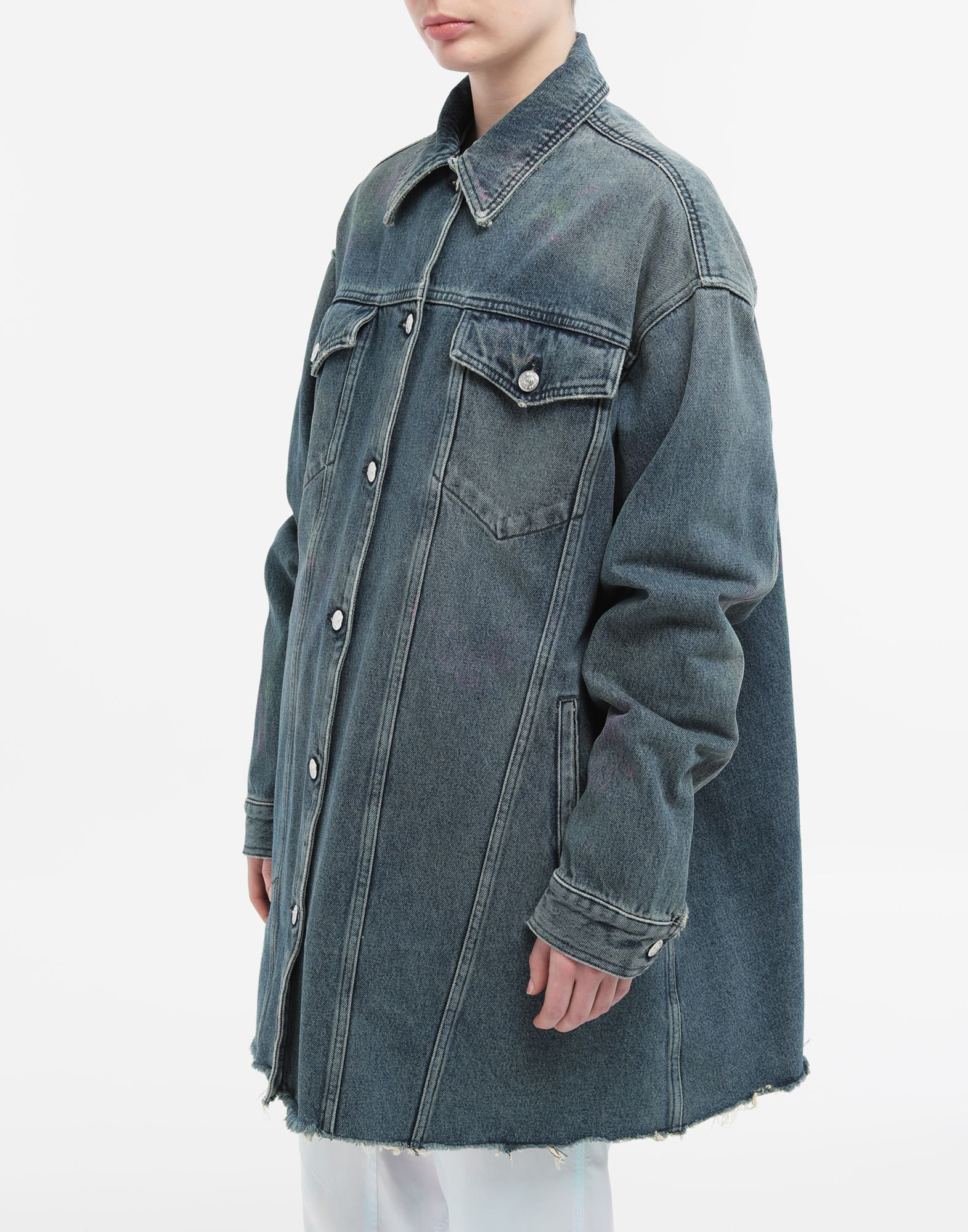 MM6 MAISON MARGIELA Oversized highlighter-treated denim jacket Light jacket Woman r