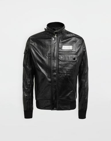 MAISON MARGIELA Logo tab military leather jacket Leather Jacket [*** pickupInStoreShippingNotGuaranteed_info ***] f
