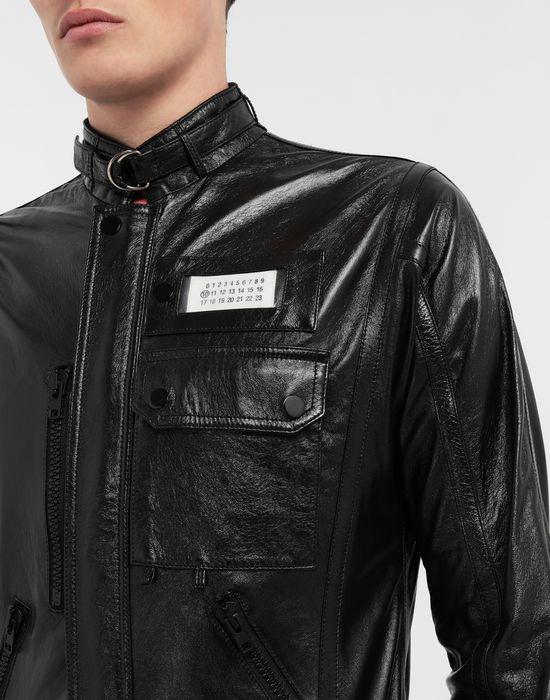 MAISON MARGIELA Logo tab military leather jacket Leather Jacket [*** pickupInStoreShippingNotGuaranteed_info ***] a