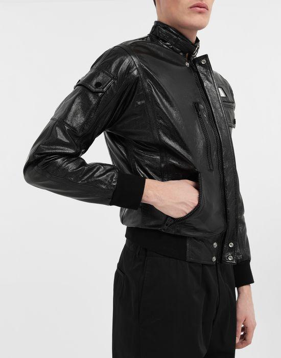 MAISON MARGIELA Logo tab military leather jacket Leather Jacket [*** pickupInStoreShippingNotGuaranteed_info ***] b