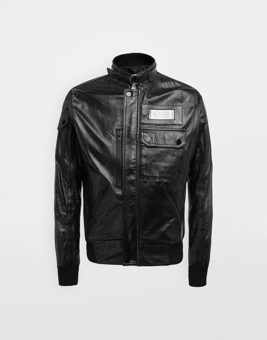 MAISON MARGIELA Logo tab military leather jacket Leather Jacket [*** pickupInStoreShippingNotGuaranteed_info ***] f