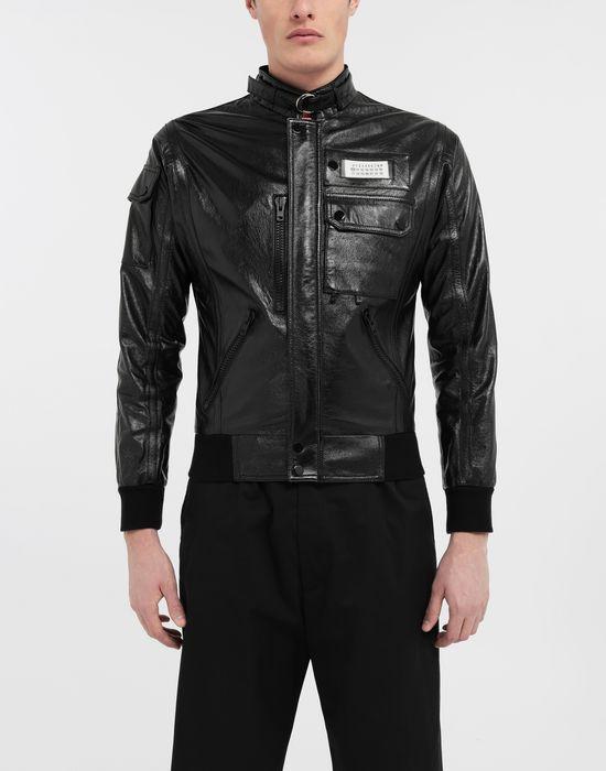 MAISON MARGIELA Logo tab military leather jacket Leather Jacket [*** pickupInStoreShippingNotGuaranteed_info ***] r