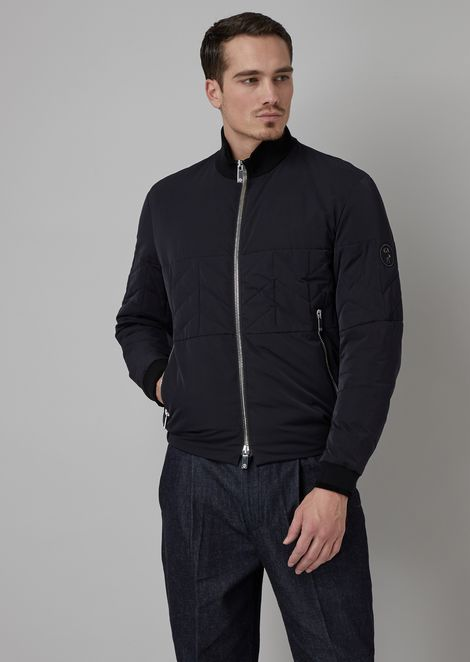 Blouson in fabric with chevron pattern