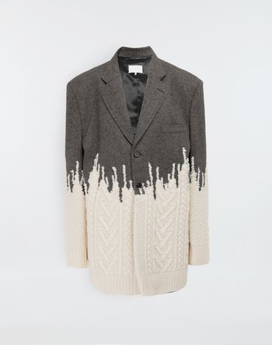 MAISON MARGIELA Two-tone micro herringbone wool and knit jacket Blazer [*** pickupInStoreShipping_info ***] f