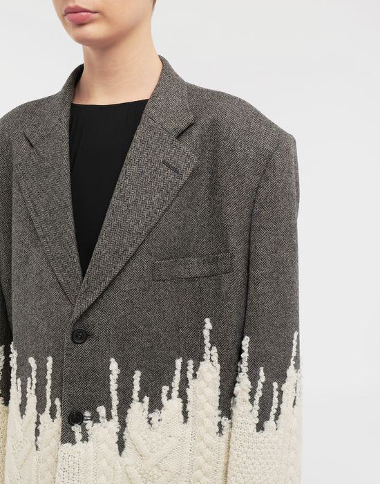 MAISON MARGIELA Two-tone micro herringbone wool and knit jacket Blazer [*** pickupInStoreShipping_info ***] a