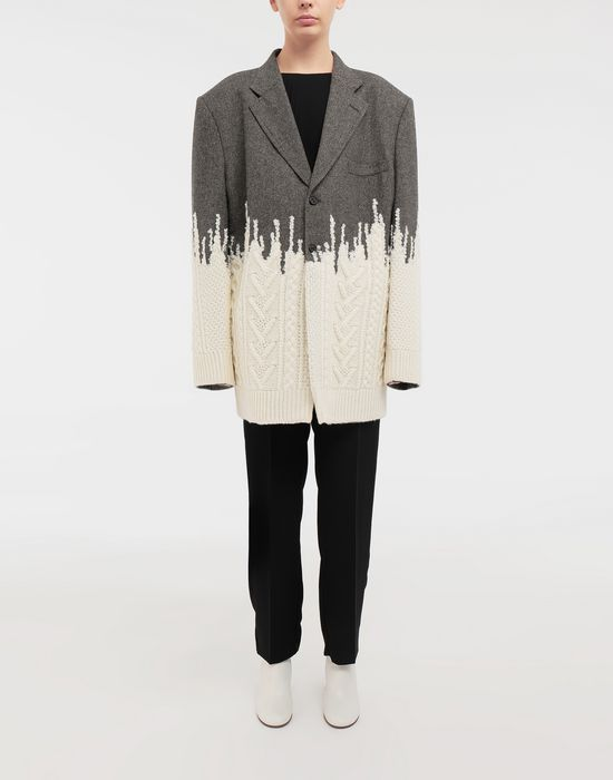 MAISON MARGIELA Two-tone micro herringbone wool and knit jacket Blazer [*** pickupInStoreShipping_info ***] d