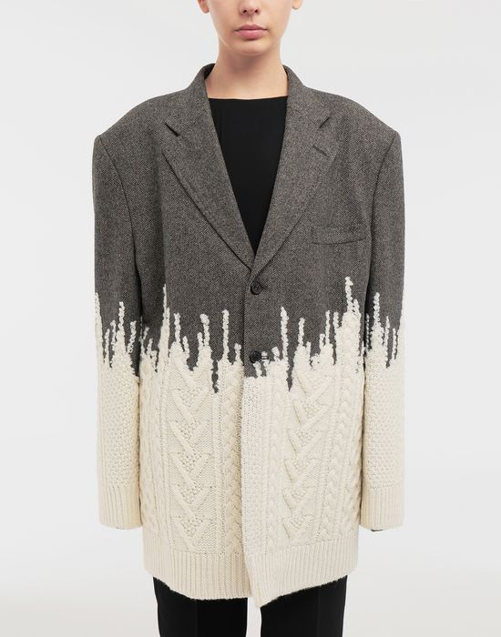 MAISON MARGIELA Two-tone micro herringbone wool and knit jacket Blazer [*** pickupInStoreShipping_info ***] r