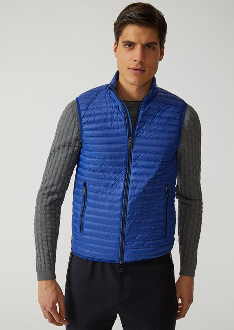 Sleeveless down jacket in technical fabric