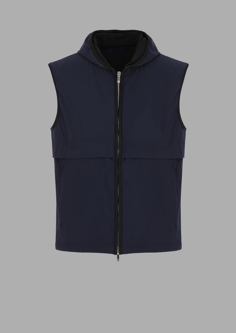 Light tech crepe vest with Giorgio lettering on the back