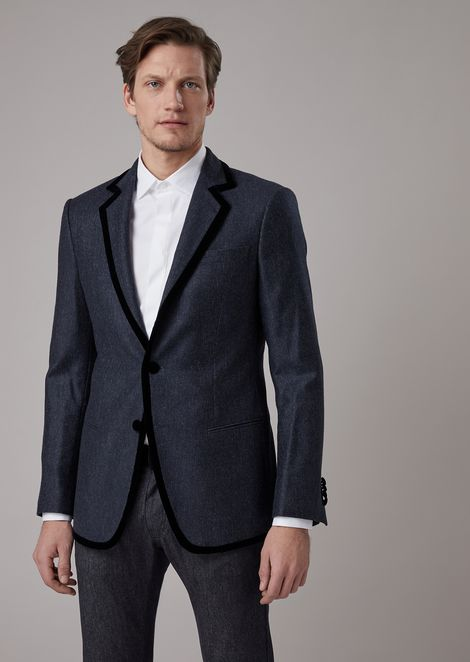 Single-breasted slim-fit Soho jacket in cashmere with cavalry denim effect