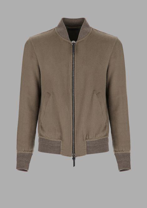 Double garment-washed cloth bomber jacket