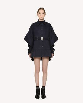 REDValentino Tricotine Tech belted cape with flounce