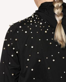 REDValentino Pearls detail Nylon shell jacket