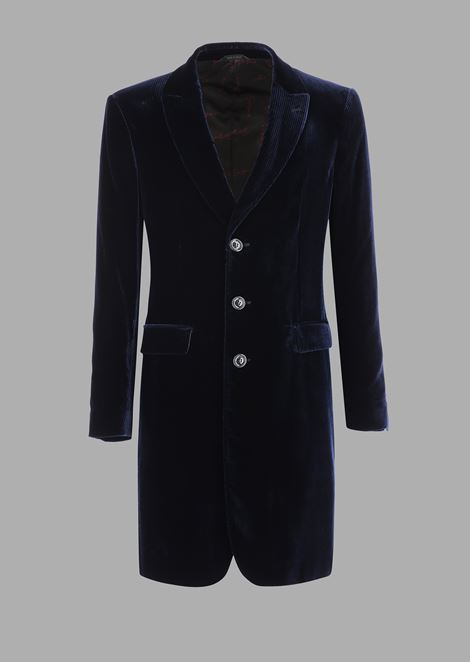 Single-breasted coat in pinstriped stretch velvet