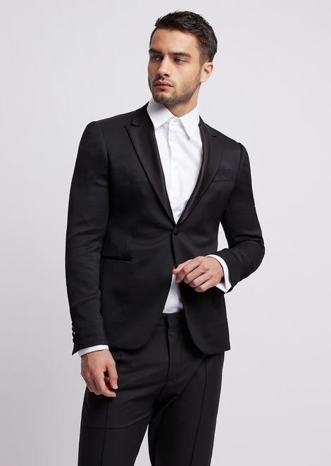 Single-breasted tuxedo jacket with satin lapels