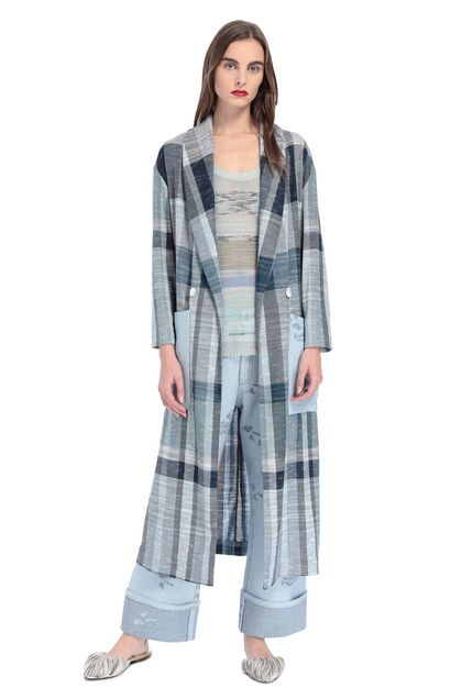 MISSONI Coat Sky blue Woman - Back