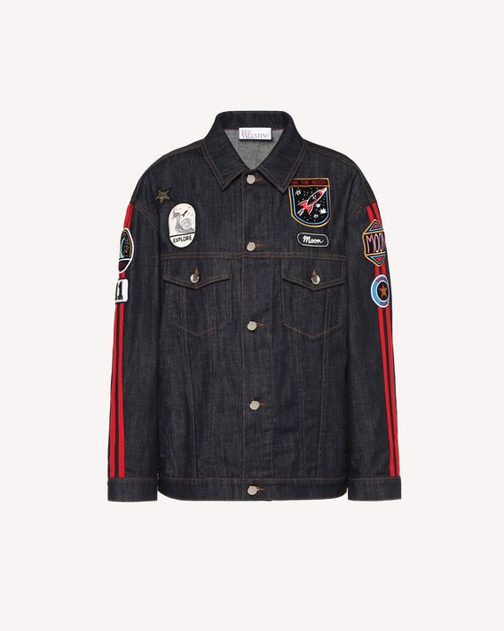 REDValentino Denim jacket with embroidered space patches