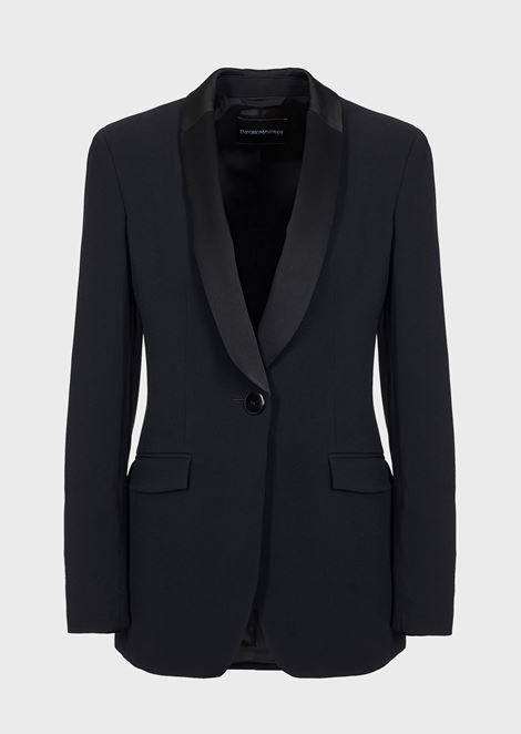 Single-breasted jacket in envers satin with reverse-side satin lapels