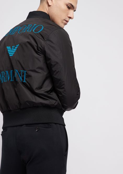 Reversible bomber jacket with logo embroidered on the back