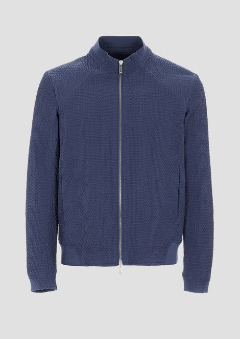 Blouson with zip in embossed fabric