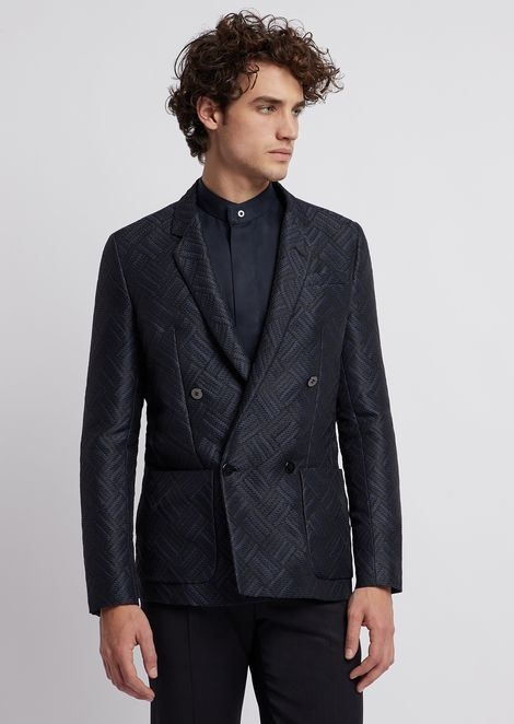 Double-breasted cotton nylon jacket with jacquard weave pattern