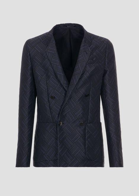 Двубортный пиджак из хлопка и нейлона с плетеным жаккардовым узором