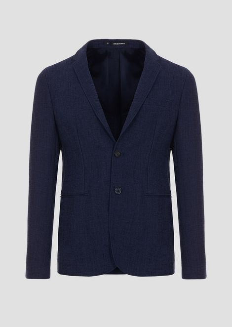 Single-breasted blazer in textured jersey