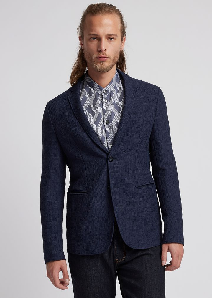 c80a471e4c Single-breasted blazer in textured jersey