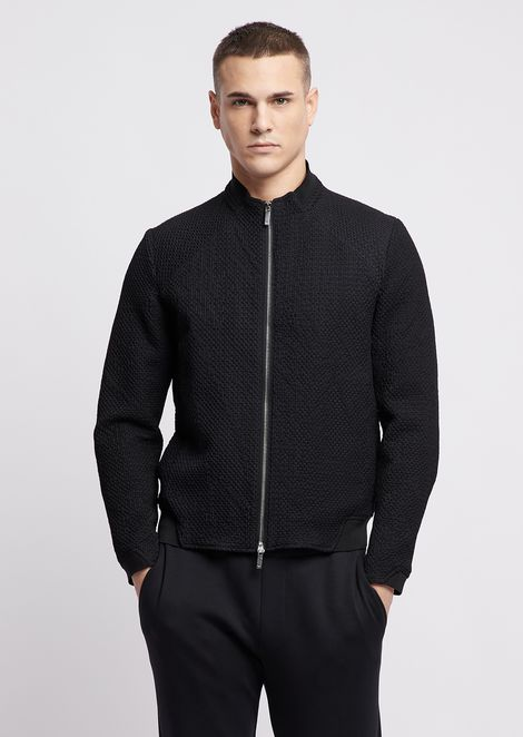 Embossed fabric blouson with zip