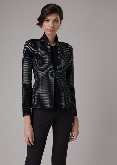 Two-tone ottoman flared jacket