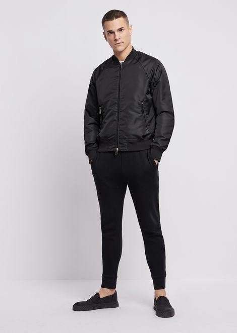 Tech fabric bomber jacket with jacquard logo