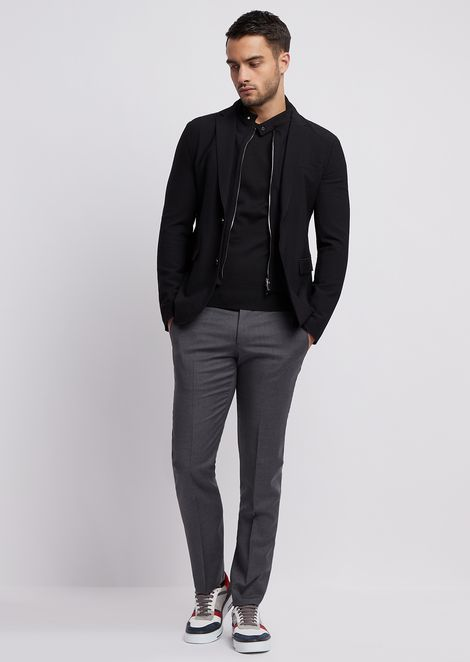 Textured stretch nylon single-breasted jacket with detachable gilet
