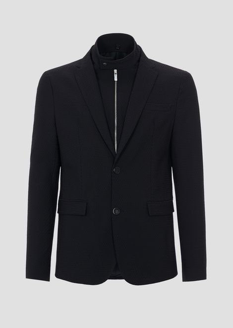 Textured stretch nylon single-breasted blazer with detachable vest
