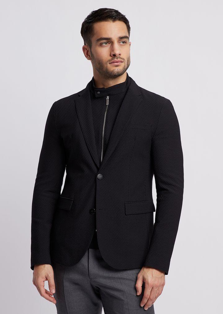 59aee8970e Textured stretch nylon single-breasted blazer with detachable vest ...