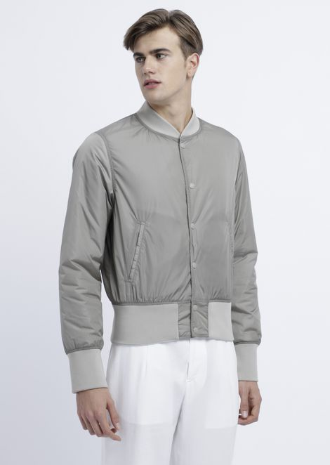Reversible bomber jacket with embroidered logo in gray