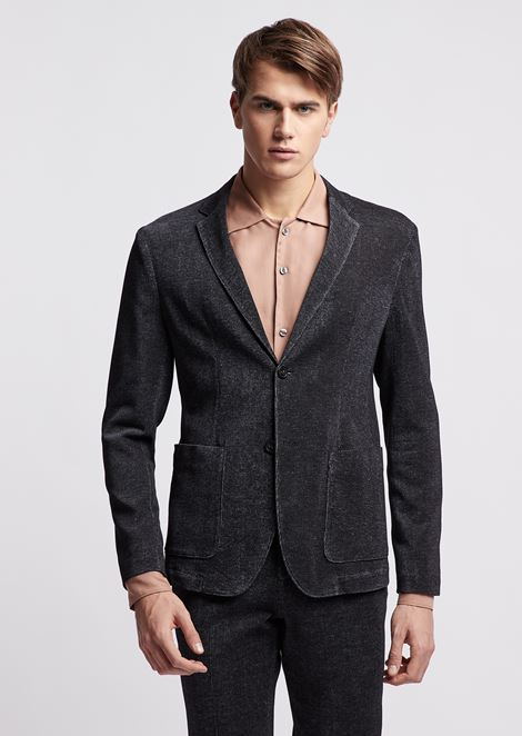 Ultralight cotton jersey single-breasted blazer