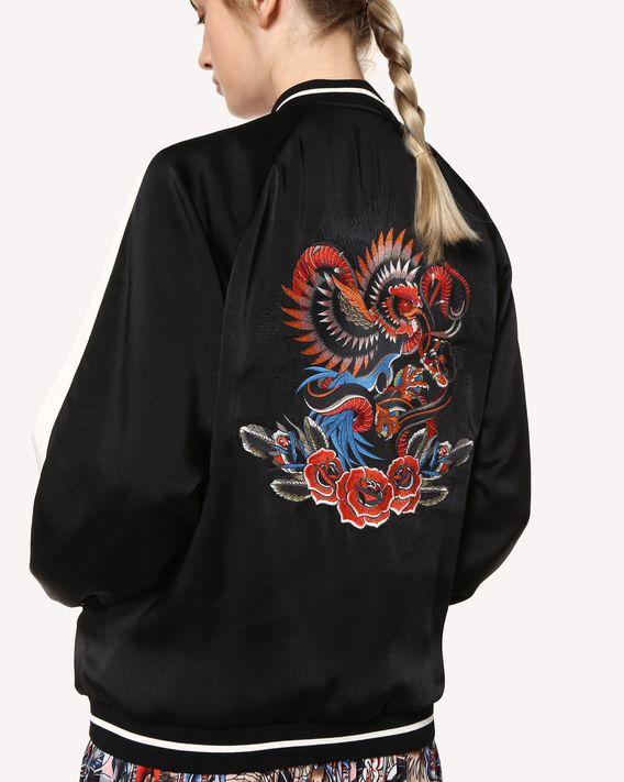 """REDValentino Souvenir Jacket aus fließendem Satin mit """"Tattoo""""-Stickerei"""