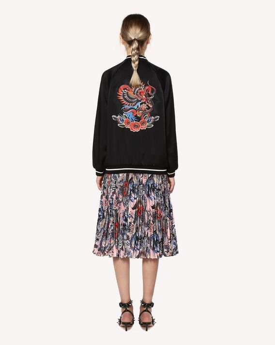 REDValentino Tattoo-embroidered fluid satin souvenir jacket