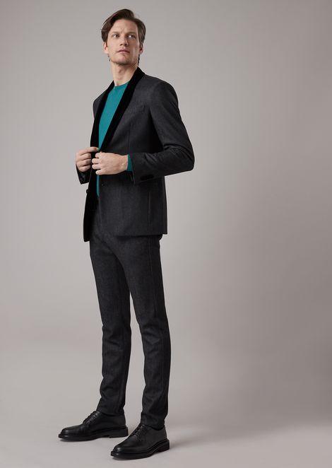 Soho slim fit denim effect cavalry jacket with velvet lapels