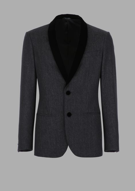 Soho slim fit denim effect cavalry jacket with velvet lapels