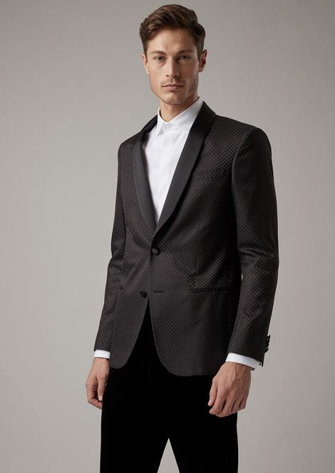 Soho tuxedo jacket in checkerboard-motif fabric with satin lapels