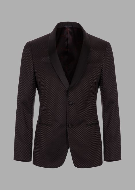 Soho tuxedo jacket in chequerboard-motif fabric with satin lapels