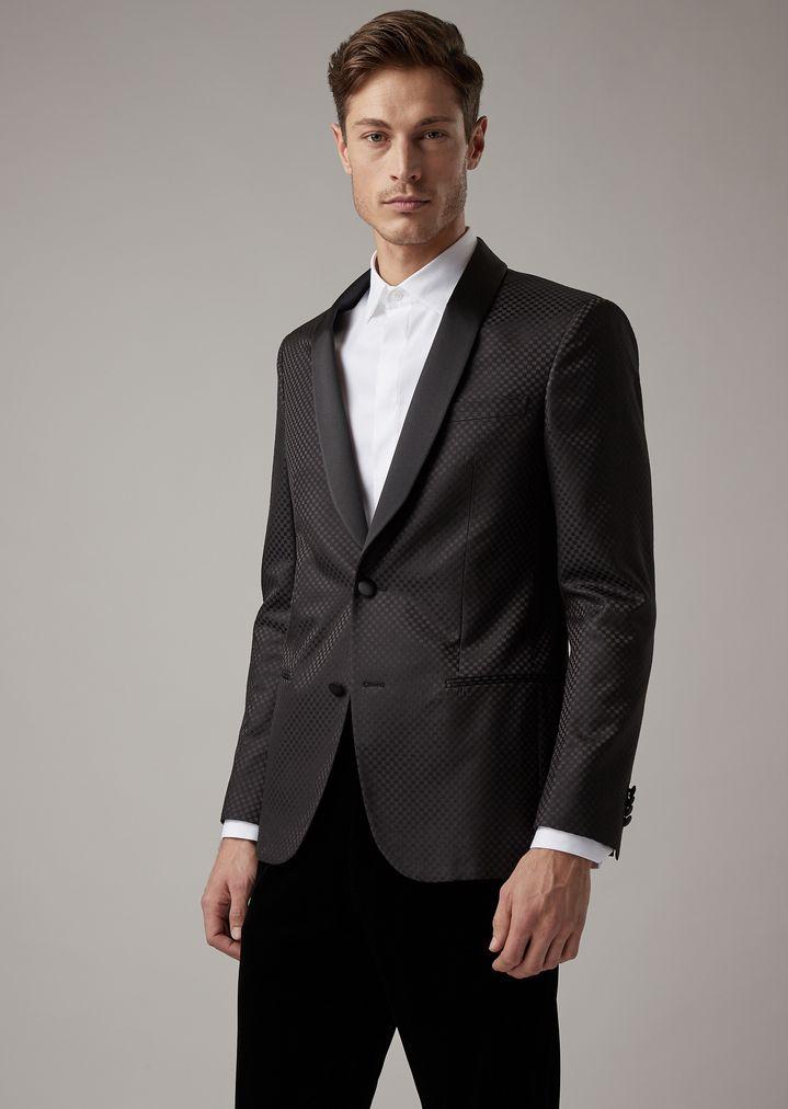 Soho tuxedo jacket in checkerboard-motif fabric with satin lapels