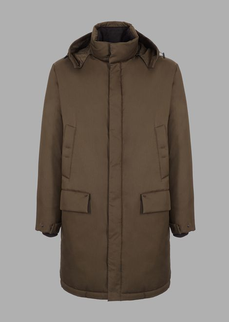 Jacket in water-repellent tricotine with soft warm goose feather padding