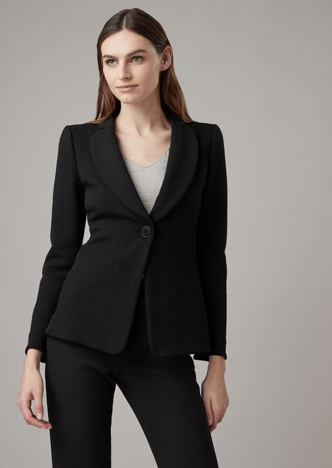 Single-breasted blazer in crepe-effect bonded jersey