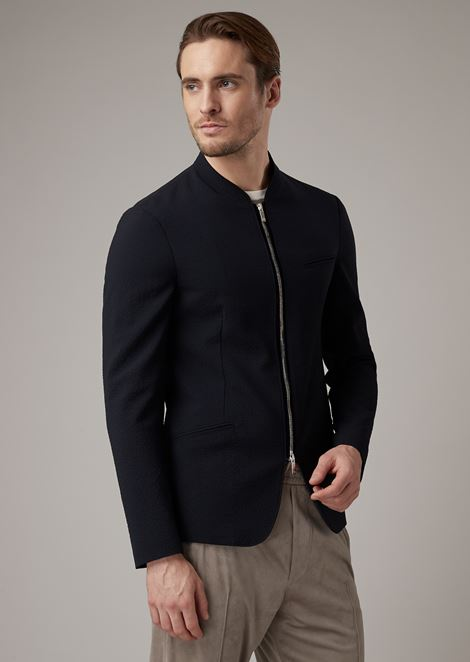 Jacket with zip fastening in plain-coloured seersucker