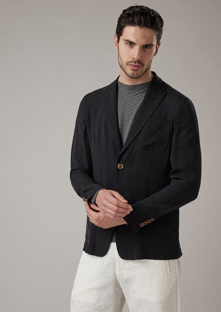 bdb328f736 Slim-fit deconstructed jacket in washed cupro natté