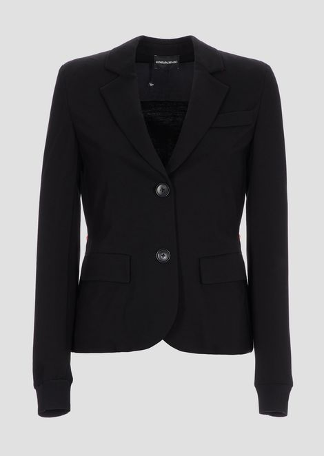 Single-breasted blazer with contrasting drawstring on the back
