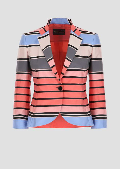Single-breasted blazer in bayadere-striped satin