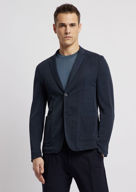 Lightweight stretch mesh single-breasted blazer